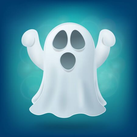 otherworldly: scary cartoon ghost on blue background. Halloween party design element vector illustration Illustration