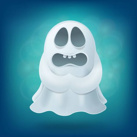 phantom: upset cartoon ghost on blue background. Halloween party design element vector illustration