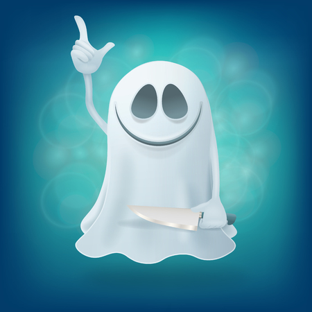 maniac: maniac ghost with knife on blue background. Halloween party design element vector illustration