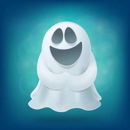 otherworldly: Laughing cartoon ghost on blue background. Halloween party design element vector illustration