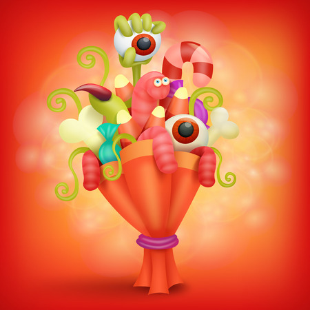 disgusting: Halloween spooky bouquet. Concept card template. Vector illustration