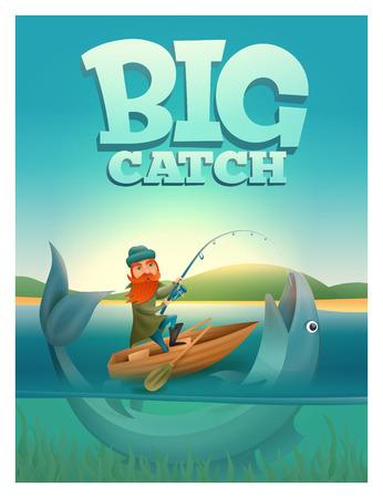 brown trout: Big catch concept poster card. Vector illustration. Illustration