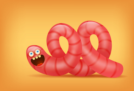 Pink earthworm funny insect character. Vector illustration