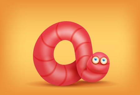 lombriz de tierra: lombriz de tierra de color rosa carácter divertido del insecto. ilustración vectorial