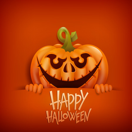 title emotions: Happy Halloween card with smiling pumpkin character. Vector illustration