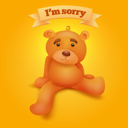 Cute brown teddy bear sitting on yellow background. I'm sorryconcept card. Vector illustration