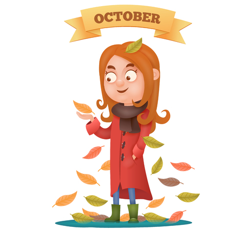 Young girl in red coat catching autumn leaves. Autumn card. Vector illustration