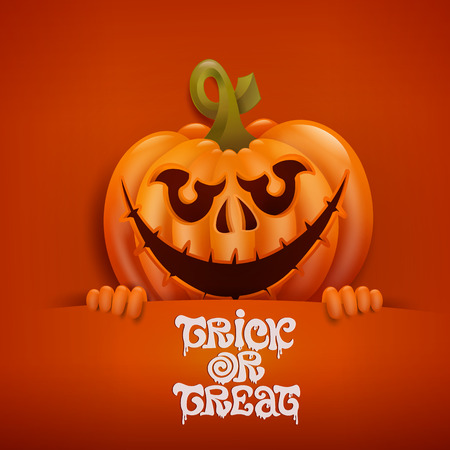 title emotions: Happy Halloween card with scary pumpkin character. Vector illustration Illustration