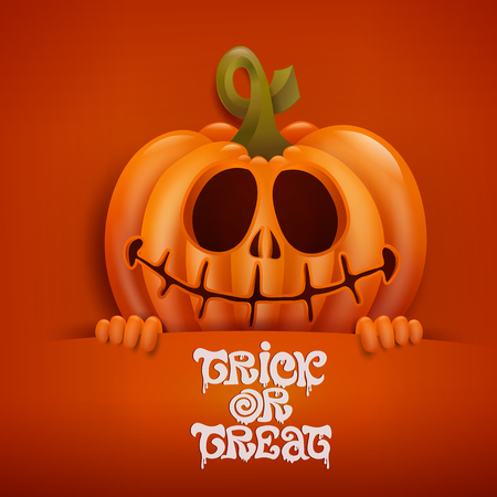 Happy Halloween card with scary pumpkin character. Vector illustration Illustration