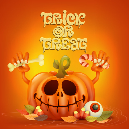Funny pumpkin character on orange background Trick or treat halloween concept card