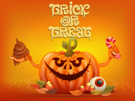 Happy Halloween concept card with pumpkin. Trick or treat title. Vector illustration