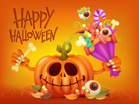 Happy Halloween concept card with pumpkin and scary bouquet. Vector illustration