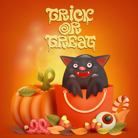Happy Halloween card with bat inside bag. Tric or treat card