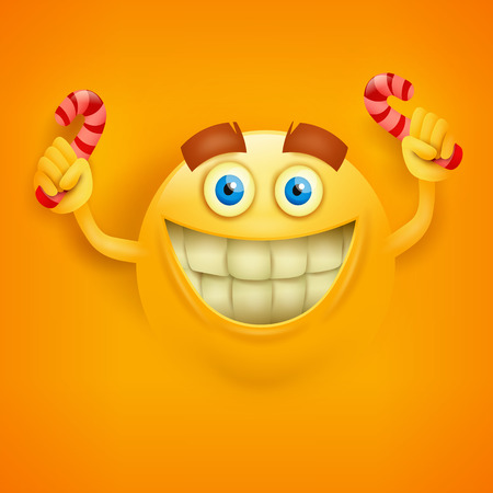 toothy: Happy toothy yellowround face with candys. Vector illustration Illustration