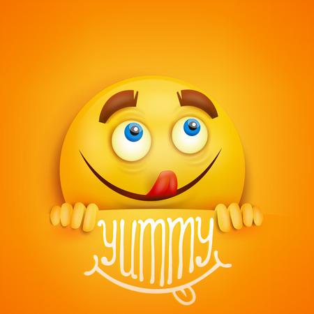 Buon viso rotondo smiley giallo. titolo Yummy. scheda di vettore Vettoriali
