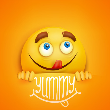 Happy smiley yellow round face. Yummy title. Vector card