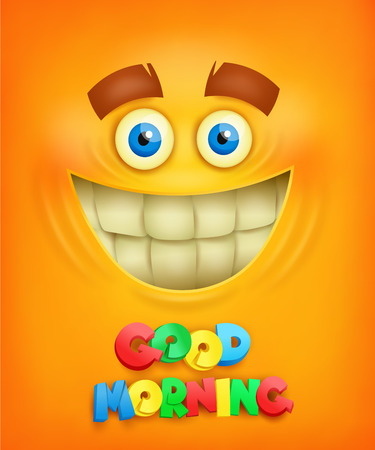 Yellow background with smiley face. Good morning concept vector illustration 일러스트