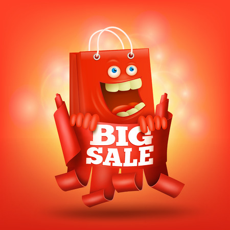 Red ribbon with bag character big sale concept card Vector illustration