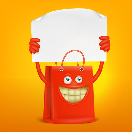 shopping bag character with paper banner. Vector concept card Ilustrace