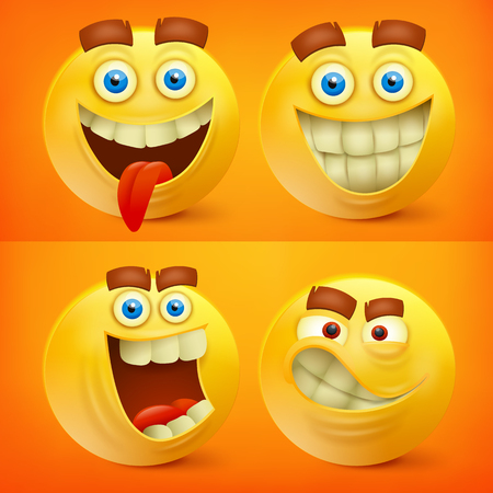 Set of yellow smiley characters with different emotions. Vector illustration