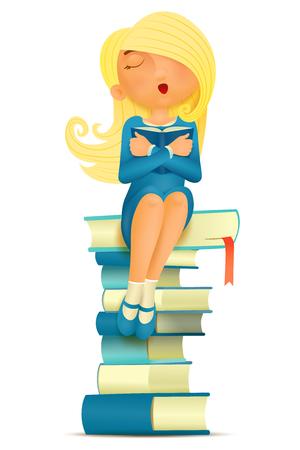 dreaming girl: Dreaming girl sitting on her favorite books. Vector cartoon illustration Illustration