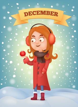 Girl in earmuffs holdin christmas ball Vector illustration
