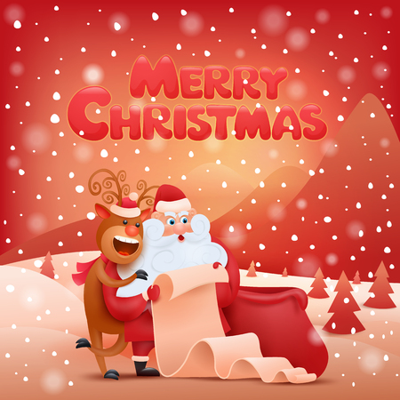 wit: Christmas card wit santa claus and deer. Vector illustration
