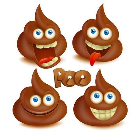 Set of  poop emoji icons. Isolated over white. Illustration