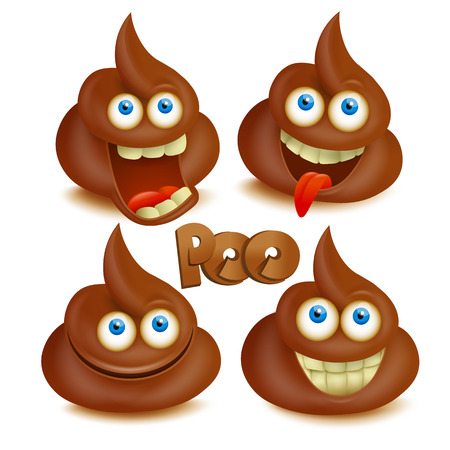 Set of  poop emoji icons. Isolated over white. Illustration