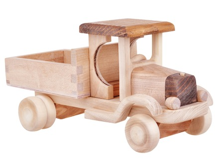 Wooden toy truck car