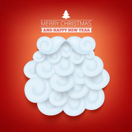 temlate: Invitation christmas card temlate with santa claus beard. Vector illustration