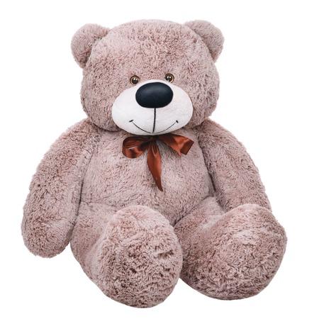 Grey toy plush teddy bear isolated on white background