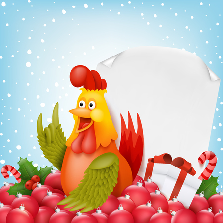 chinese holly: New year composition with funny cartoon rooster character. Vector illustration Illustration