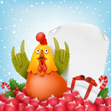 New year composition with funny cartoon rooster character. Vector illustration Illustration