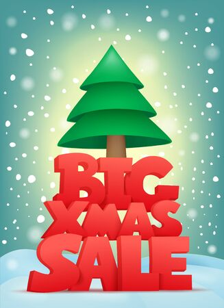drift: Big xmas sale title text with christmas tree. Vector card Illustration