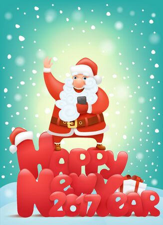 drift: Happy new year 2017 invitation card with santa claus charactermaking selphie. Vector Illustration
