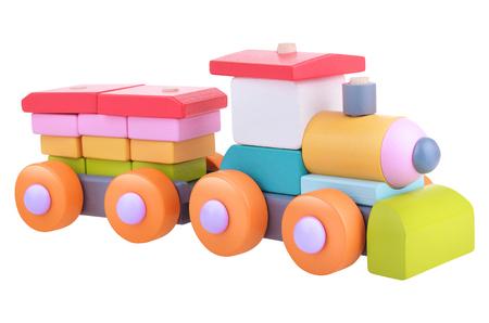 lógica: Tren de la lógica de juguete de madera con trazado de recorte Foto de archivo