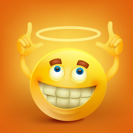 Yellow smiley face character with nimbus Illustration