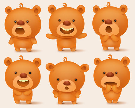 Creation set of teddy bear characters with different emotions