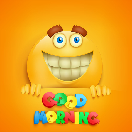 Good morning concept card with yellow smiley character