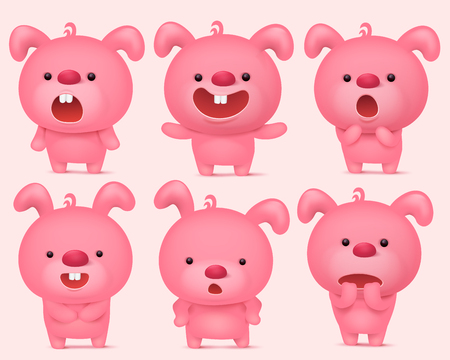 Pink bunny emoji characters set with different emotions. Vector illustration