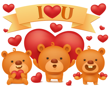 trio: Set of teddy bear emoji characters with red hearts. Valentines day vector collection