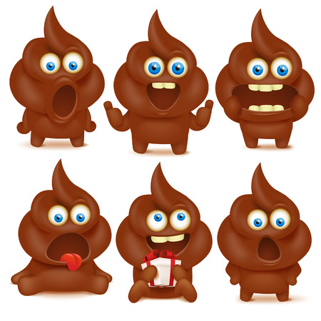 chibi: Set of cute poop emoji characters with different emotions. Vector collection Illustration