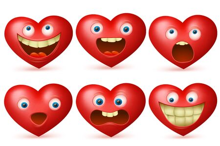 Funny cartoon red heart character set, icons, isolated on white