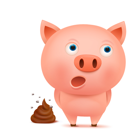 feces: Confused pig cartoon character with feces bunch illustration Illustration