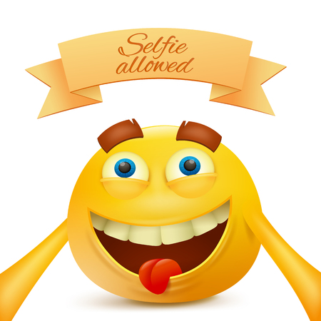 making face: emoticon yellow face character making selfie illustration Illustration