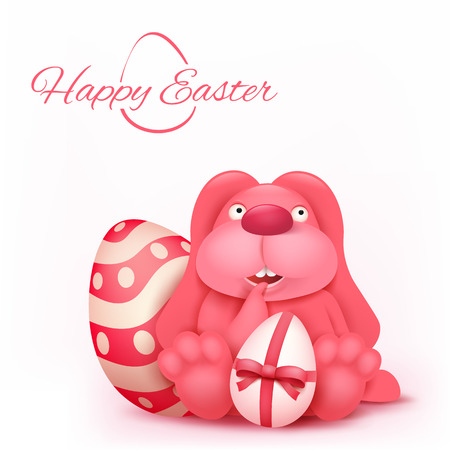 Pink thoughtful easter bunny character sitting near decorated egg. Vector invitation card