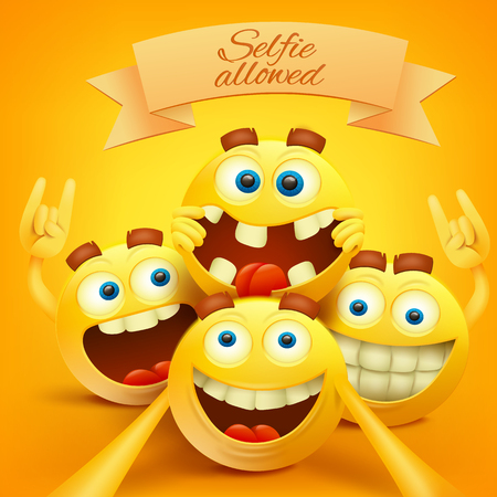 Yellow smiley emoji faces characters making selfie. Vector illustration