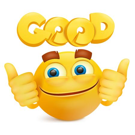 Yellow smile face emoji cartoon character. Vector illustration. Illustration