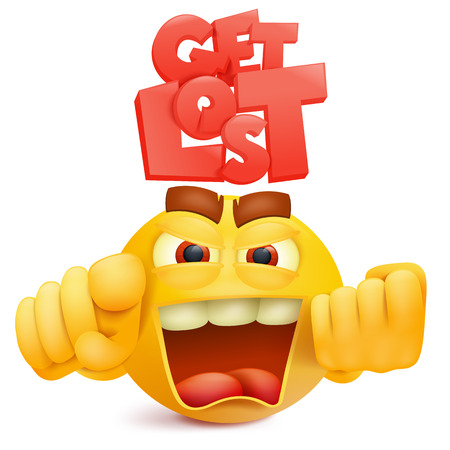 Yellow smile face emoji character with anger emotion. Vector illustration.